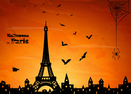 night party: halloween card with silhouette of Paris,  flying  bats and spider on web on orange sky background, vector illustration