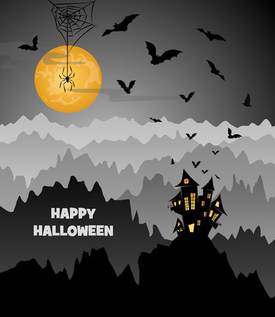 all saints day: halloween night, landscape with a castle on a mountain, flying bats and spider on a big yellow moon, vector illustration Illustration