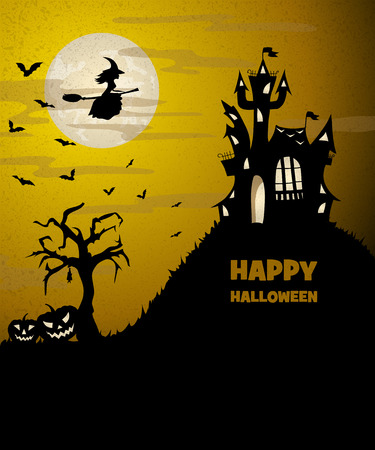 flying witch: scary halloween landscape with a silhouette of castle, flying witch, dry tree and pumpkins, vector illustration with copy space