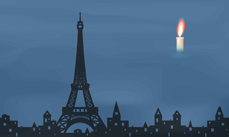 mourn: black silhouette of Paris, eiffel tower, burning candle,   vector illustration