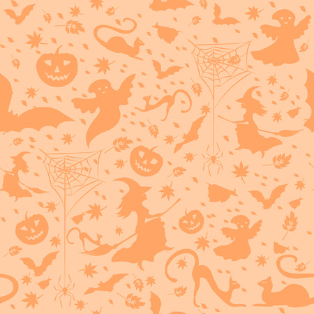 halloween background - witch on broom, spiders, pumpkins, flying bats, defoliation, and ghosts on light orange background, vector illustration