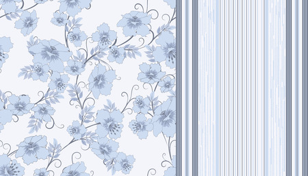 gray strip backdrop: two pattern with flowers and strips in pastel shades of  blue, vector illustration Illustration