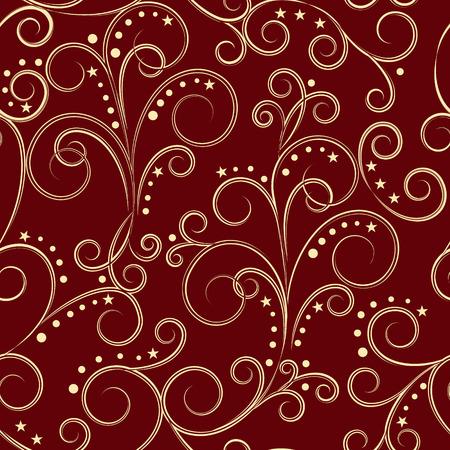red gold: golden vintage seamless pattern on dark red background, vector illustration