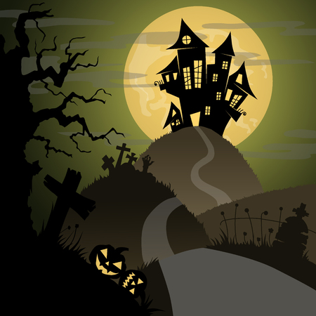 frightful: halloween night with castle, pumpkins, tombs, and big yellow moon, vector illustration