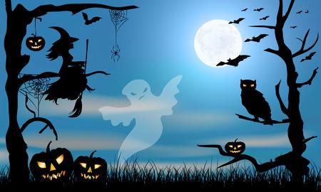 citrouille halloween: Halloween conception -ghost, sorcière, potirons, hibou, araignée et les chauves-souris sur le bleu de grange sombre et grand fond de lune