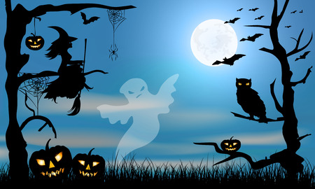 spider: Halloween  design -ghost, witch, pumpkins, owl, spider and bats on dark grange blue and big moon background