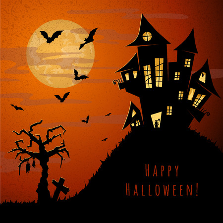 flying bats: halloween night, old castle, little girl with ballon standing in the doorway, orange sky, big yellow moon, flying bats, dry tree and near grave cross, vector illustration