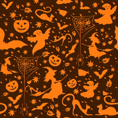 defoliation: halloween background - witch on broom, spiders, pumpkins, flying bats, defoliation, and ghosts on dark brown background, vector illustration Illustration