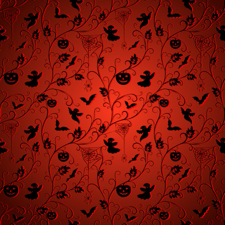 flying bats: halloween background - climber plant, spiders, pumpkins, flying bats and ghosts on blue dark background, vector illustration