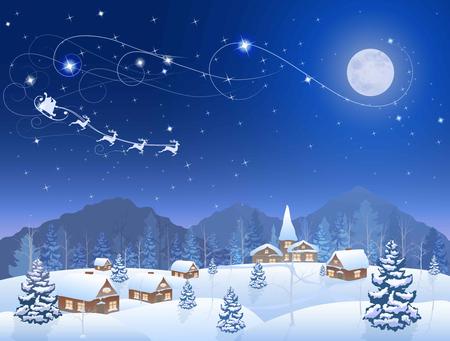 luna caricatura: invierno nieva pueblo y el árbol de navidad en la noche, Santa Claus en trineo, montañas en el horizonte, gran luna en el cielo estrellado, fondo del vector