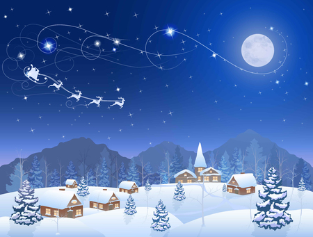 country christmas: winter snowing village and christmas tree at night, santa claus in sleigh, mountains on the horizon, big moon in the starry sky, vector background Illustration