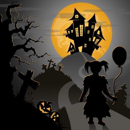graves: halloween postcard: little girl going to castle through scary hills with graves and pumpkins, vector illustration Illustration