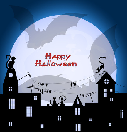 holey: halloween design - big shadow of two  bats flying over night town  on big  moon and blue sky background, vector illustration