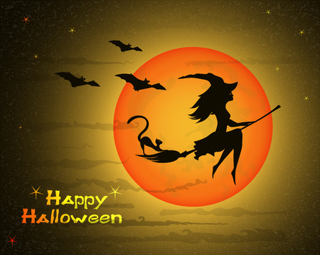 and barefoot: beautiful young witch with cat on broom  against the background of a orange  large moon and yellow sky, vector illustration