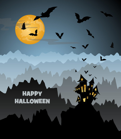 all saints day: halloween night with a castle on a mountain, flying bats and spider on a big yellow moon, vector illustration