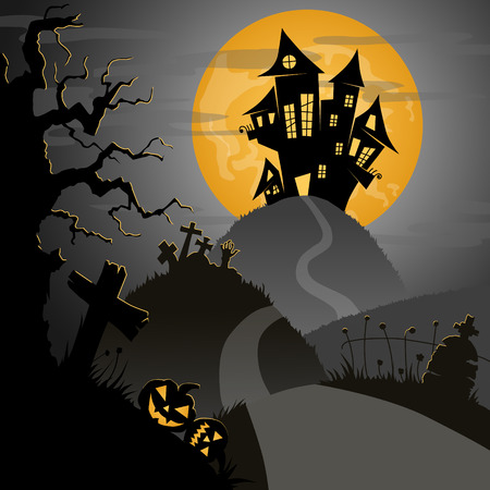 frightful: scary halloween night with castle, pumpkins, tombs, and big yellow moon, vector illustration Illustration
