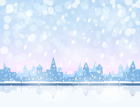 pink sky: silhouette of snowing  winter town, river, embankment,  light blue and pink sky, snowfall, vector illustration
