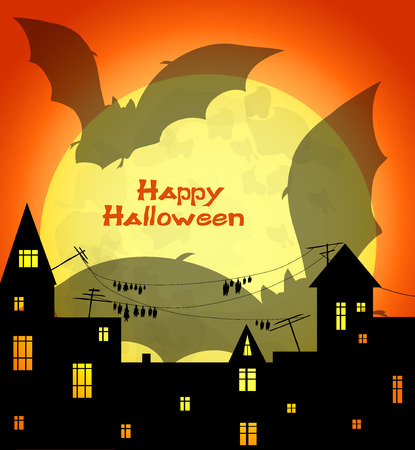 holey: halloween design - big shadow of two  bats flying over night town  on big yellow moon and orange sky background, vector illustration