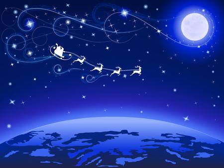 dark sky: moon and santa on his reindeers on blue dark sky flying to earth, vector illustration