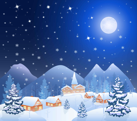 snow house: winter snowing village and christmas tree at night, mountains on the horizon, big moon in the starry sky, vector background