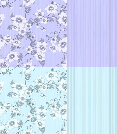 four pattern: four pattern with flowers and strips in pastel blue and lilac colors, vector illustration