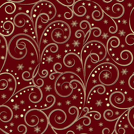christmassy: christmassy golden vintage seamless pattern on dark red background, vector illustration Illustration