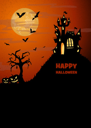flying bats: scary halloween landscape with a silhouette of castle, flying bats, dry tree and pumpkins, vector illustration with copy space Illustration
