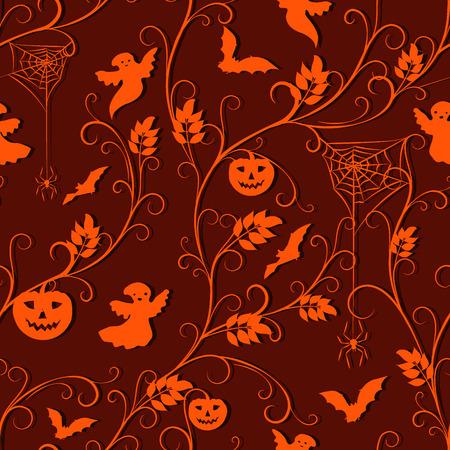 flying bats: halloween background - orange climber plant, spiders, pumpkins, flying bats and ghosts on dark orange background, vector illustration