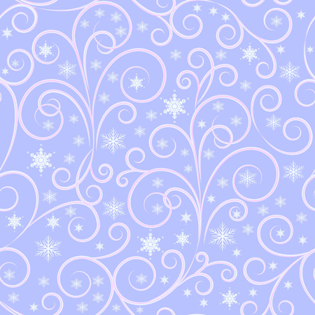 winter background, white and pink swirl lines and white snowflakes on light lilac background, seamless pattern, vector illustration 向量圖像