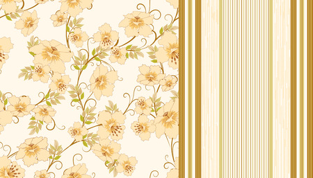 strip design: two seamless pattern with flowers and strips in pastel shades of  beige, vector illustration