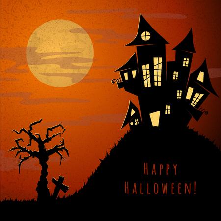 graves: halloween night, old castle,  orange sky, big yellow moon,  dry tree and near grave cross, vector illustration Illustration