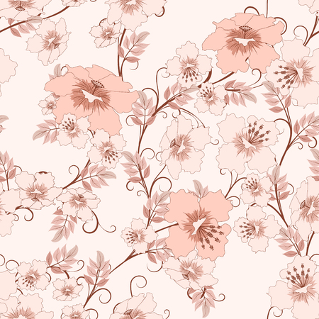 soft colors: seamless floral pattern in pink soft colors, vector illustration Illustration