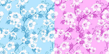 pink backgrounds: two floral seamless pattern on blue and pink backgrounds, vector illustration