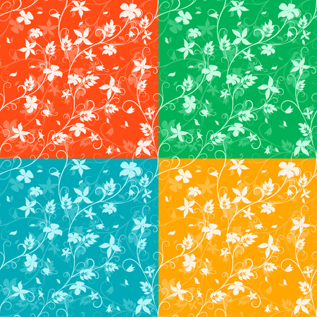 four texture: four  floral seamless pattern on different colors backgrounds, vector illustration