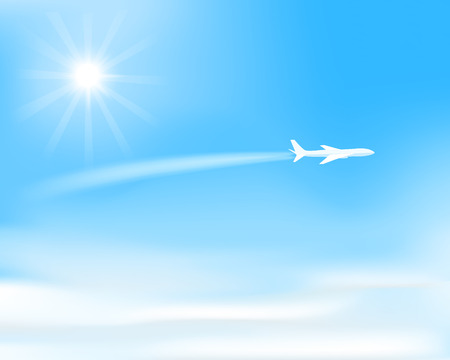 sunlight sky: white airplane flying  over clouds, visible trace of plane, sun on  blue sky, vector illustration Illustration