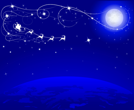 ciel sombre: moon and santa on his reindeers on blue dark sky flying to earth, vector illustration