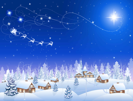 village: winter snowing village and christmas tree at night, santa claus in sleigh, mountains on the horizon, big moon in the starry sky, vector background Illustration