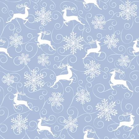 reno: Modelo inconsútil del invierno con renos y copos de nieve blancas sobre fondo azul
