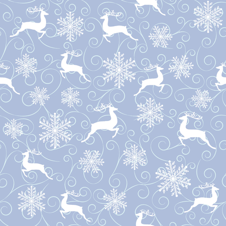 winter seamless pattern with white reindeers and snowflakes on blue background
