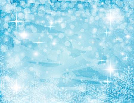 azul turqueza: fondo de la turquesa-blanco resumen navideño con estrellas, el hielo y el copo de nieve, ilustración vectorial