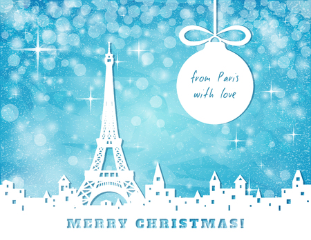 cut paper: christmas congratulation card, Paris with eifel tower on blue sky with stars and christmas balls background, cut paper vector illustration