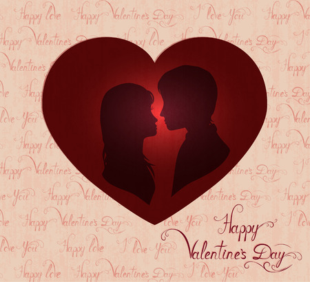 amorous: silhouette of amorous couple in red heart, valentines day card, vector illustration