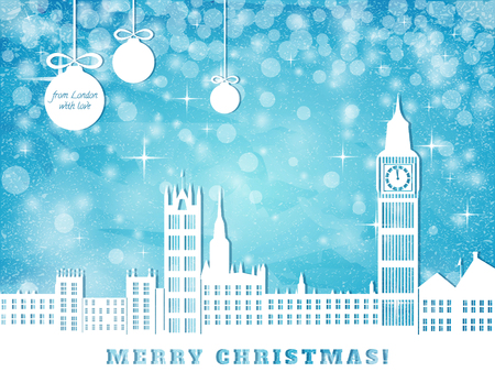 london: christmas congratulation card, London with big ben on blue sky with stars and christmas balls background, cut paper vector illustration