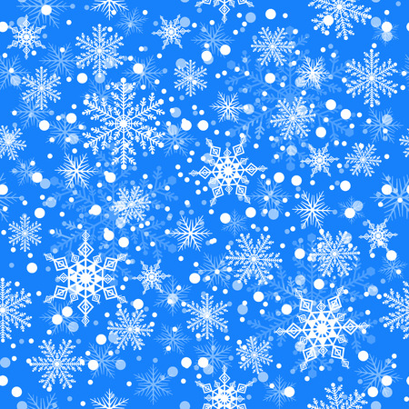 glob: different snowflake and ball snow on light blue background, seamless pattern, vector illustration Illustration