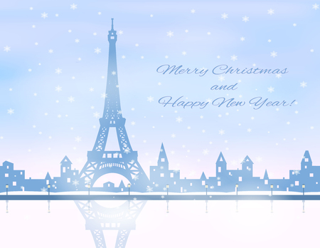 eifel: silhouette of snowing  winter city, eifel tower, river, embankment,  light blue and pink sky, snowfall, vector illustration