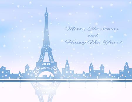 eifel tower: silhouette of snowing  winter city, eifel tower, river, embankment,  light blue and pink sky, snowfall, vector illustration