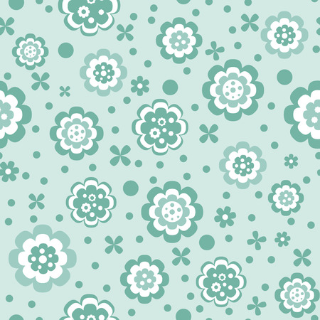 green flowers: seamless pattern with green and white abstract simple different flowers on pastel green background, vector illustration Illustration