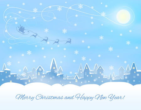 silhouette of snowing  winter town, congratulatory text,  santa clous in sleight, reindeers, vector illustration