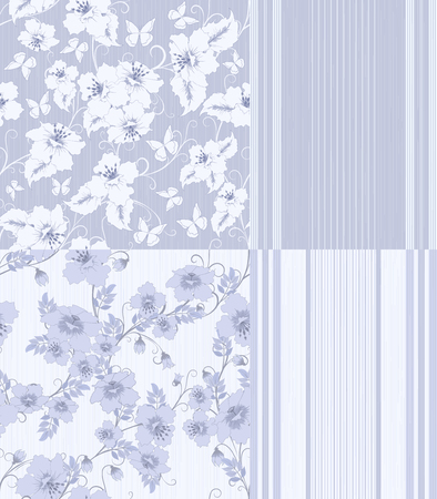 batterfly: four pattern with flowers, butterfly and strips in grey-blue and white colors, vector illustration Illustration