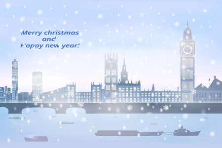 christmas card, winter big city with river, fog, snow, on river going boats, vector illustration